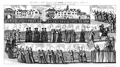 """The Solemn Mock Procession of the Pope, Cardinals, Jesuits, Friars, etc. through the City of London, 17 November 1679."" The Solemn Mock Procession of the Pope (1829).jpg"