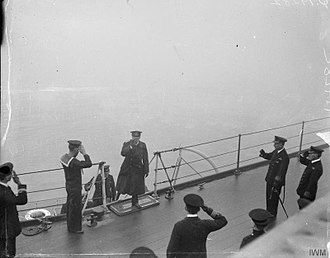 HMS Queen Elizabeth (1913) - German Rear Admiral Otto Maurer, leading the German delegation, boards Queen Elizabeth during the surrender of the High Seas fleet, 21 November 1918