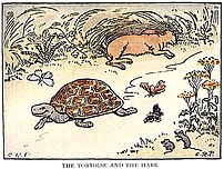 The Tortoise and the Hare, illustrated in a 19...