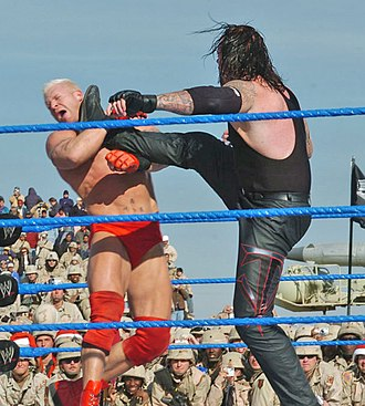Professional wrestling attacks - The Undertaker performs a big boot on Heidenreich