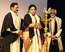 The Union Minister for Textiles, Smt. Smriti Irani lighting the lamp at the convocation ceremony of the National Institute of Fashion Technology (NIFT), in New Delhi.jpg