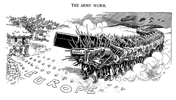 "Cartoon titled ""The Army Worm"" in the U.S. newspaper Chicago Daily News depicting ""War Menace"" threatening the people of Europe, 1914 The army worm. - Luther D. Bradley.jpg"