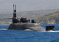 The guided missile submarine USS Florida (SSGN 728) departs Naval Support Activity Souda Bay, Greece, May 24, 2013, following a routine port visit 130524-N-JN142-277.jpg