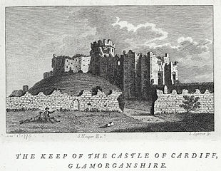 The keep of the castle of Cardiff, Glamorganshire