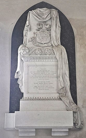 Cholwell, Cameley - Mural monument to Rev. John Rees-Mogg (1772-1835), St James's church, Cameley