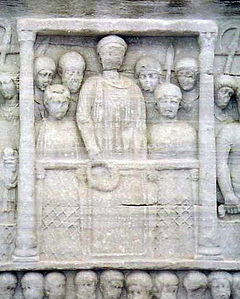 Theodosius I was the last Roman emperor who ruled over an undivided empire (detail from the Obelisk at the Hippodrome of Constantinople). Theodosius colum, Istanbul.jpg