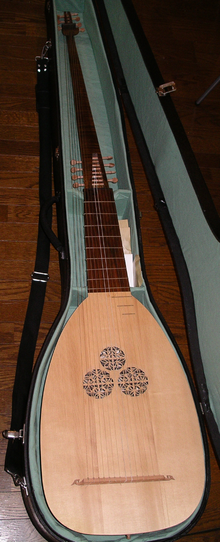A 14 course theorbo by an italian lute maker Giuseppe Tumiati (2005) inside its case. Photo by User:Pugnari