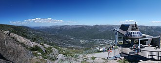 Australian Alps - Panoramic view of Thredbo ski resort and the Thredbo River valley in the Snowy Mountains from the Kosciuszko Express Terminal.
