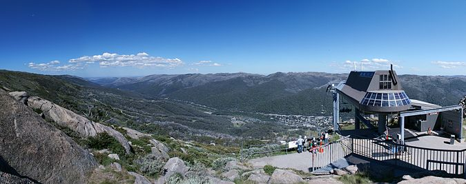 Panoramic view of Thredbo Village and the Thredbo River valley from the Kosciuszko Express Terminal Thredbo.jpg