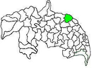 Thullur mandal - Mandal map of Guntur district showing   Thullur mandal (in green)