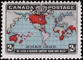 """Christmas stamp - This Canadian stamp's Christmas connection is in the """"XMAS 1898"""" at the bottom of the map."""