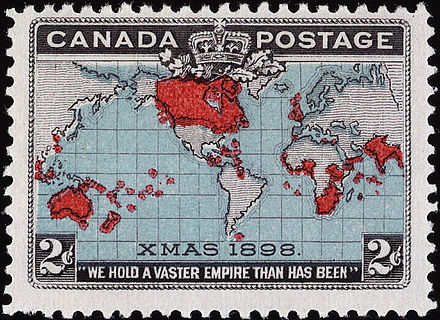"This Canadian stamp's Christmas connection is in the ""XMAS 1898"" at the bottom of the map. Timbre penny post Canada 1898.jpg"