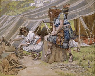 Jacob and Esau - The Mess of Pottage (watercolor circa 1896–1902 by James Tissot)