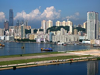To Kwa Wan - Looking at To Kwa Wan and the old Kai Tak runway from the east side of Kowloon Bay