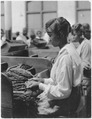 Tobacco plant. Picture of (African-American) woman before work tables covered with tobacco. - NARA - 522859.tif