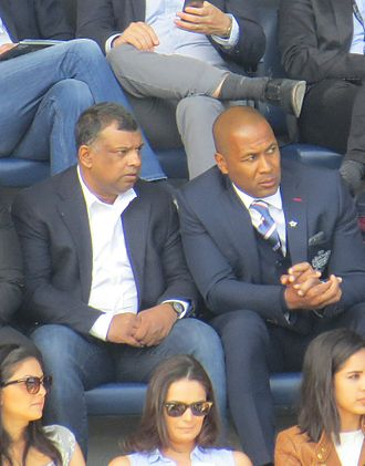 Tony Fernandes - Tony Fernandes watching QPR v Newcastle alongside Les Ferdinand at Loftus Road, May 2015