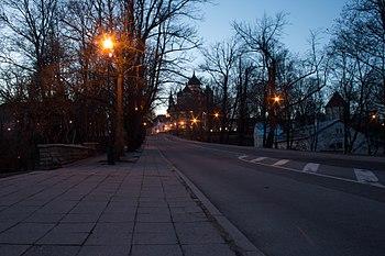 вид улицы в сторону Вышгорода. В перспективе - Александро-Невский собор