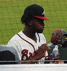 Touki Toussaint in dugout September 18, 2018 (cropped).jpg