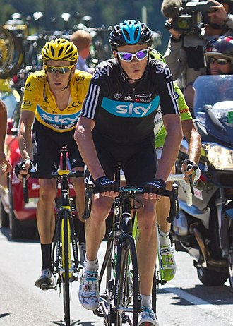 Domestique - Chris Froome assisting Bradley Wiggins (yellow jersey) in the 2012 Tour de France. Froome went on to win the 2013 Tour de France.