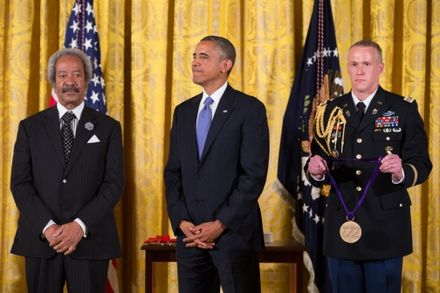 Allen Toussaint receiving the National Medal of Arts in 2013 Toussant Obama Medal 2013.jpg