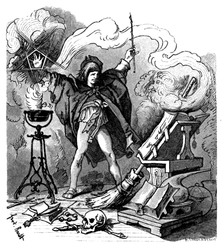 Goethe's Sorcerer's Apprentice, 1882, drawing by Ferdinand Barth