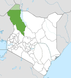Location of Turkana County (Green) including the disputed Elemi Triangle (light green)