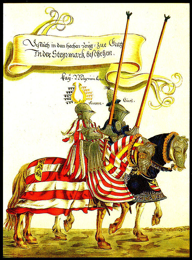 Two knights in jousting armour, from the Turnierbuch of Maximilian I (Hans Burgkmair the Younger, ca. 1540)