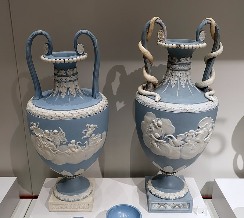 Two vases depicting Venus in her chariot drawn by swans, after Charles Le Brun, 1786-1790, solid blue jasper, white relief - Wedgwood Museum - Barlaston, Stoke-on-Trent, England - DSC09608.jpg