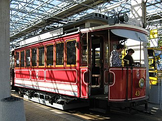 Trams in Warsaw - Restored type A electric tram from 1910s on display