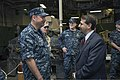U.S. Ambassador to Israel Daniel Shapiro, right, speaks with U.S. Navy Capt. Brad Skillman, the commander of the Kearsarge Amphibious Ready Group (ARG), aboard the amphibious assault ship USS Kearsarge (LHD 3) 130516-N-SB587-001.jpg