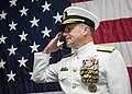 U.S. Navy Adm. Bill Gortney salutes during a change of command ceremony for the Board of Inspection and Survey (INSURV) at Naval Station Norfolk, Va., Oct. 18, 2013 131018-N-XQ474-084.jpg