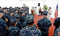 U.S. Navy Adm. Jonathan Greenert, right, the chief of naval operations, discusses the future of littoral combat ship platforms during an all-hands call aboard the littoral combat ship USS Freedom (LCS 1) 130514-N-YU572-071.jpg