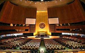 United Nations General Assembly - United Nations (UN) General Assembly hall at the UN Headquarters, New York City
