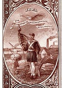 Iowa stemma nazionale dal retro della banconota Banca nazionale Serie 1882BB