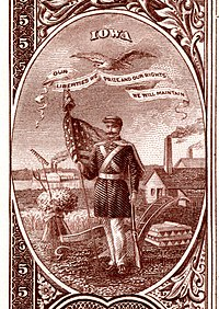 Iowa eyalet arması Ulusal Banknot serisi 1882BB ters