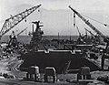 USS Coral Sea (CVA-43) in drydock at the San Francisco Naval Shipyard, circa in late 1970.jpg