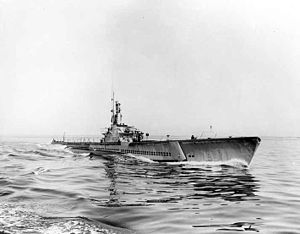 Crevalle (SS-291), under way, circa 1944.