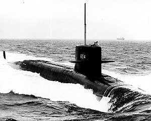 Pre-commissioning photo of George C. Marshall (SSBN-654), underway off Newport News, VA, 31 March 1966