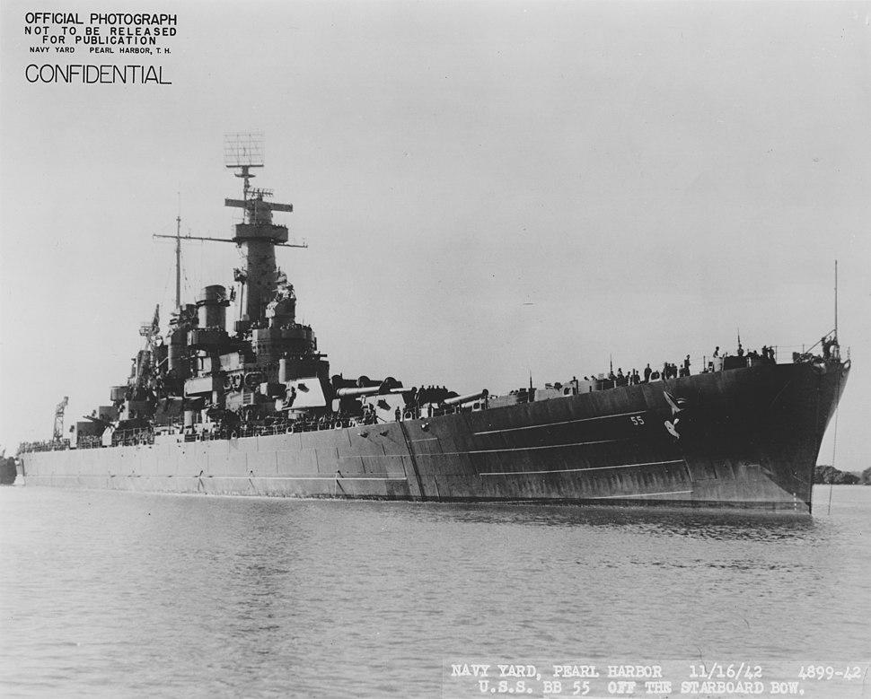 USS North Carolina front starboard view NARA 19LCM-BB55-4899-42