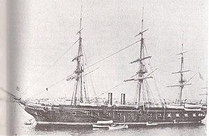 USS Pensacola (1859) - USS Pensacola at Alexandria, Virginia, in 1886.