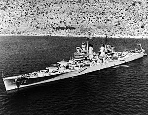 USS Pittsburgh (CA-72) - USS Pittsburgh anchored in Souda Bay, Crete, 8 May 1952.