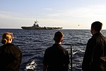 USS Ross Sailors watch as the French aircraft carrier conducts flight operations. (29948170564).jpg