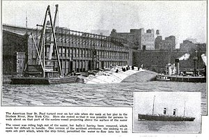 SS Saint Paul (1895) - St Paul capsized at the pier in New York. Caption from Popular Science Magazine July 1918 edition