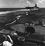 USS Ticonderoga (CV-14) landing planes in July 1945.jpg
