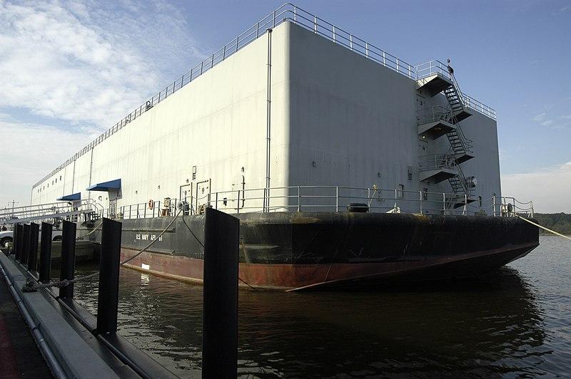 File:US Navy 031009-N-9693M-002 The U.S. Navy Barracks Craft Auxiliary Personnel Lighter Sixty One (APL-61) is moored alongside the U.S. Naval Academy's Dewey Seawall.jpg