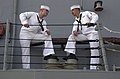US Navy 050925-N-8720O-008 Ship's Serviceman Seaman Recruit Gabriel Wiesman, left, and Gas Turbine System Technician Fireman Matthew Shille pass the time aboard the guided-missile frigate USS Kauffman (FFG 59).jpg