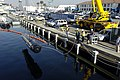 US Navy 060130-N-7676W-028 The Seahorse-class Autonomous Underwater Vehicle (AUV) from the applied research laboratory at Penn State University is lowered into the water prior to undergoing launch and recovery testing.jpg