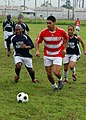 US Navy 070829-N-4021H-020 Sailors of USS Pearl Harbor (LSD 52) participate in a multi-national soccer tournament game against the Peruvian Navy's team during Partnership of the Americas (POA) 2007.jpg