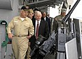 US Navy 071206-F-6655M-742 Defense Secretary Robert M. Gates, receives a tour of the cruiser USS Vicksburg (CG 69) from the ship's Commanding Officer Capt. Chip Swicker.jpg