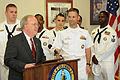 US Navy 080923-N-2539L-035 Cmdr. Joseph Klein accepts a proclamation from Columbia Mayor Bob Coble.jpg